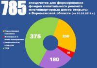 В Воронежской области собственники помещений в 785 многоквартирных домах формируют фонды капитального ремонта на специальных счетах